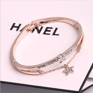Luxury Famous Brand Jewelry Rose Gold Stainless Steel Bracelets & Bangles Female Heart Forever Love Charm Bracelet For Women(China)