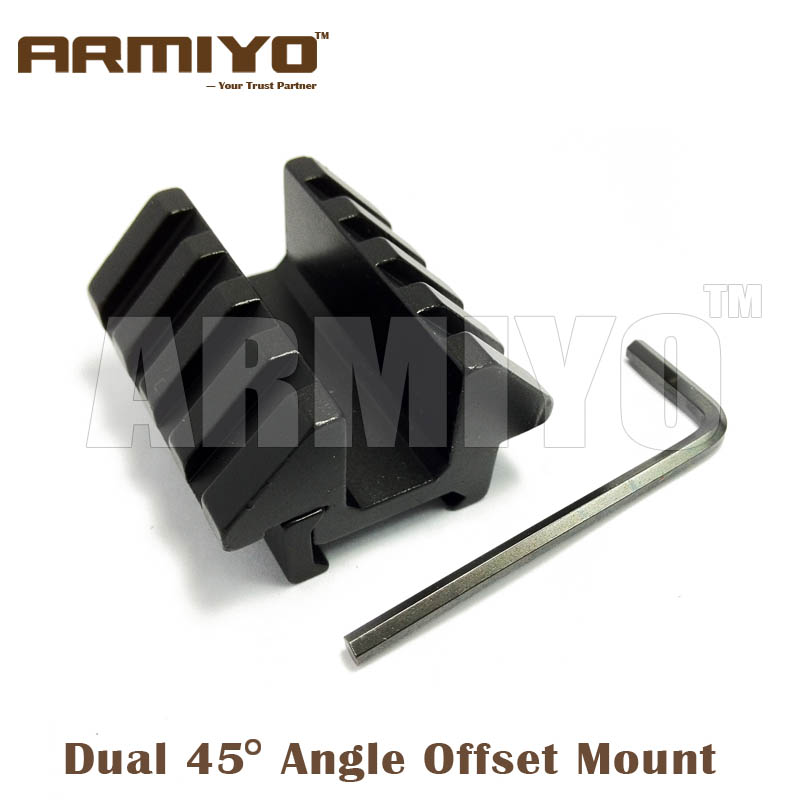 Armiyo Dual 45 Degree Angle Offset Double Side Gun Mount Rack Adapter 46mm Length 20mm Rail Hunting Shooting Accessories