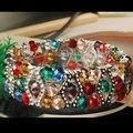 """Frete grátis moda jóias Multicolor de cristal facetado Elestic pulseira 1 Strand 7 """" FG5869"""