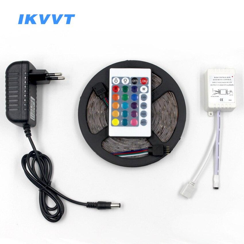 IKVVT 5 mt RGB LED Streifen Kit SMD5050 2835 Licht rgb 12 v Led Flexible Streifen Diode Band Band mini IR-Controller DC 12 v Adapter Set
