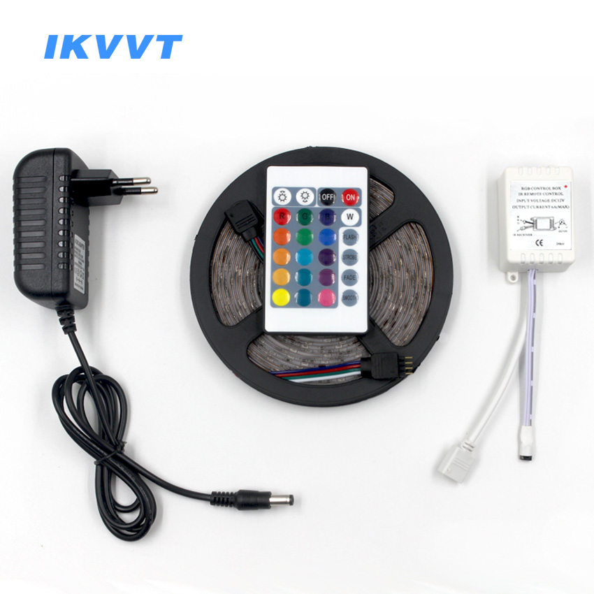 IKVVT 5m RGB LED Strip Kit SMD5050 2835 Light rgb 12V Led Flexible Strip Diode Tape Ribbon mini IR Controller DC 12V Adapter Set 10m 5m 3528 5050 rgb led strip light non waterproof led light 10m flexible rgb diode led tape set remote control power adapter