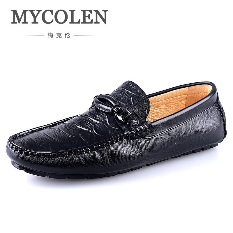MYCOLEN Spring Autumn Fashion Mens Slip On Casual Shoes Genuine leather Crocodile pattern Male Breathable Flat Driving Shoes mens s casual shoes genuine leather mens loafers for men comfort spring autumn 2017 new fashion man flat shoe breathable
