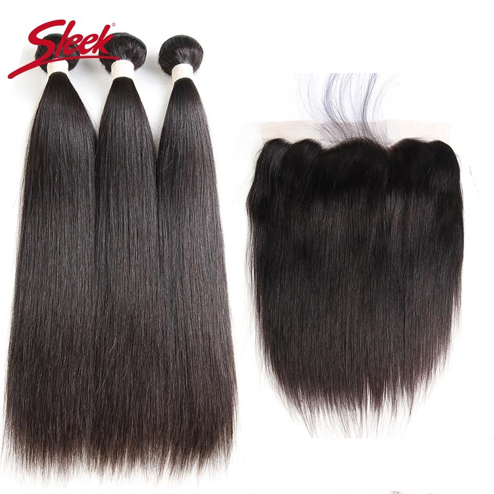 Sleek Peruvian Straight Human Hair Bundles With Frontal Natural Remy Human Hair 3 Bundles With 13X4 Lace Frontal With Baby Hair