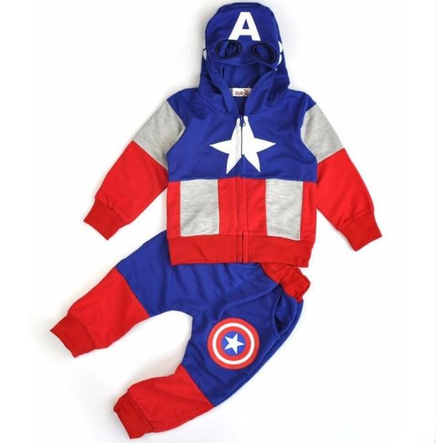 קפטן אמריקה בני בגדי סטי אביב כותנה נים תינוק ילד בגדי מעיל + מכנסיים 2 חתיכות חליפת פעוטות ילדים בגדים סט