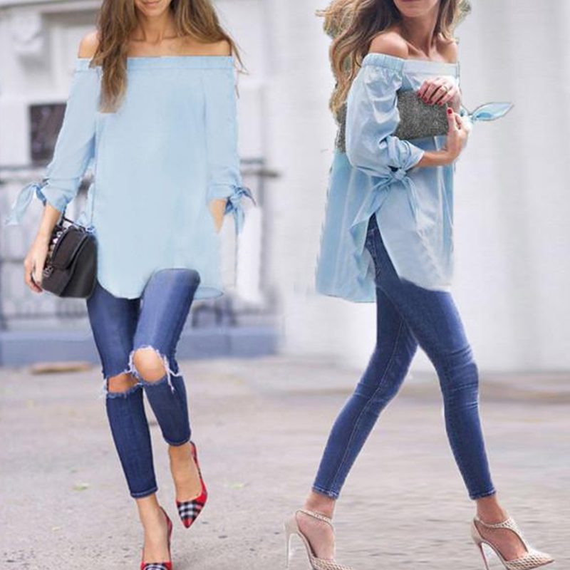 Women Off Shoulder Side Split Bowknot Long Sleeved Blouse Casual Loose Tops#27538