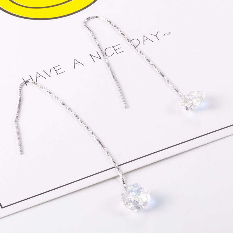 925 Sterling Silver Box Line Long Chain Earring Supplies For Crystal Beads Silver Ear Threads Beading Chain 95cm A Pair
