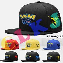 Pokemon Go Men Women Unisex Snapback Adjustable Baseball Cap Team Instinct Valor Mystic Outdoor sports snapback cap Hip Hop Hats