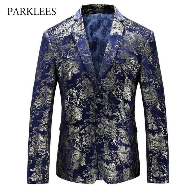 Paisley Floral Blazer Men 2017 Brand New Luxury Suit Jacket Gold Velvet Flower Print Blazers Casual Single Breasted Blazer Homme