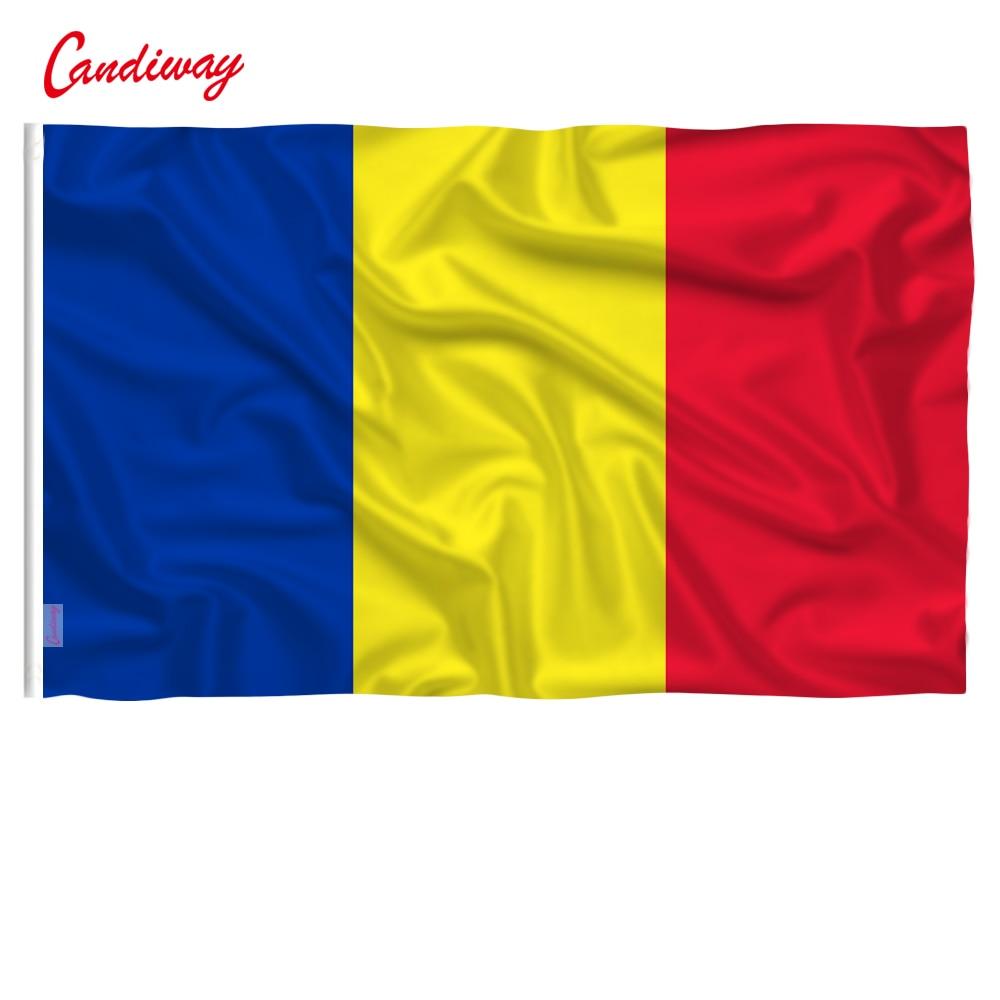 90 X 150cm Romania Flag Europe National Flag All Over The World Hot Sell Goods Banner Brass Metal Holes  NN056