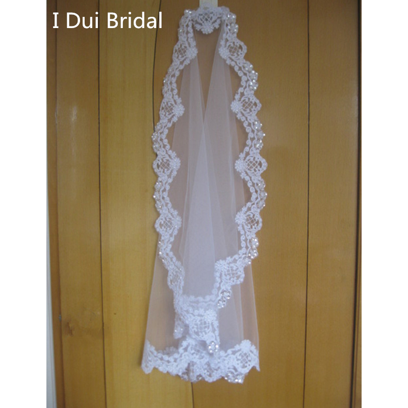 Alencon Lace Mantilla Bridal Veil Wedding Accessory White Ivory Elbow 1 Layer Pearl Sequin Bead