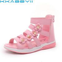 夏のスタイルの子供サンダル女の子のファッション王女美しい花靴子供フラットサン