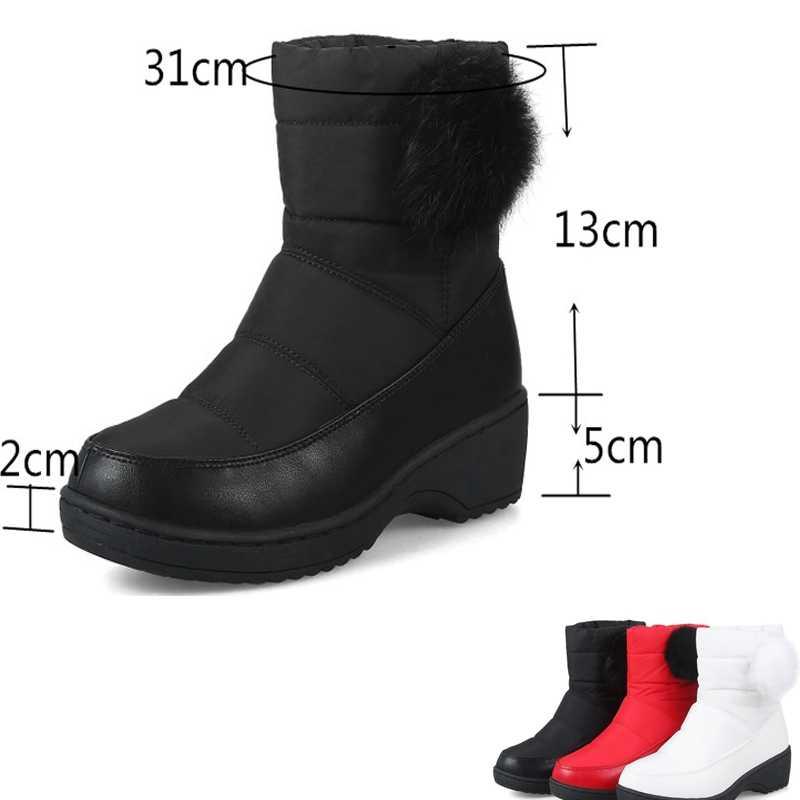 REAVE KEDI Büyük boyutu 35-43 Yeni Moda kar botları sıcak tutmak yuvarlak ayak yarım çizmeler kadınlar için Orta topuk kış çizmeler kadın ayakkabıları A813