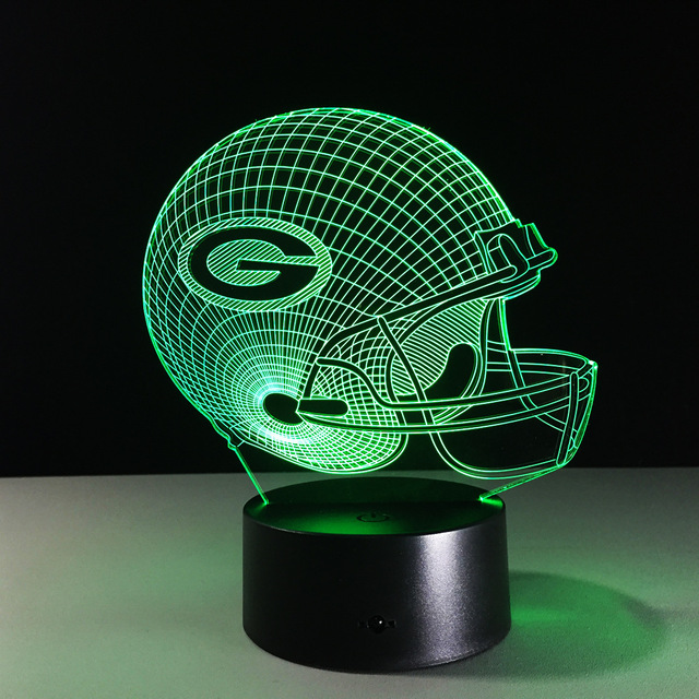 Novelty NFL Green Bay Packers Football Helmet Illusion LED Night Light  Colorful Hologram 3D Desk Lamp Great Ideas