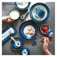 KINGLANG Japanese restaurant HENGFENG series blue and white CERAMIC porcelain bowl dinner set charger plates tableware set
