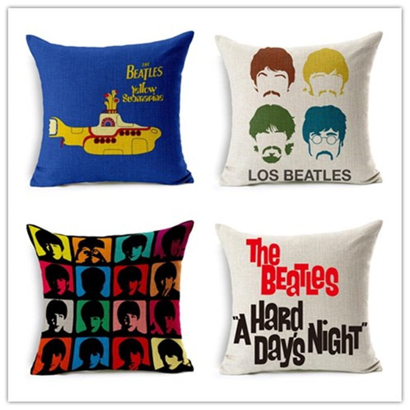 Fashion Rock Band Print Cushion Cover Super Star Home Decorative Sofa Throw Pillow Case Cojines Decorativos Para Sofa Almofadas