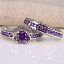 Fashion Rings Inlaid Crystal Square Purple Stone Princess Ring Set Ladies Fashion Full Zircon Engagement Ring Jewelry Gift newbark new one stacking ring set including 7pcs round rings nondetachable inlaid cz stone classic fashion women jewelry
