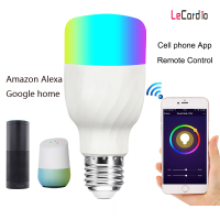 7W RGBW LED Lamp WiFi Smart Light Bulb, Dimmable Multicolor Wake Up Lights, E27 Compatible with Alexa & Google Home Assistant