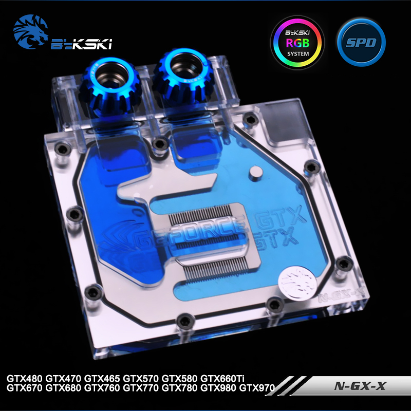 Bykski N-GX-X Half Cover Graphics Card Water Cooling Block for GTX480/470/465/570/580/660Ti/670/680/760/770/780/970/980