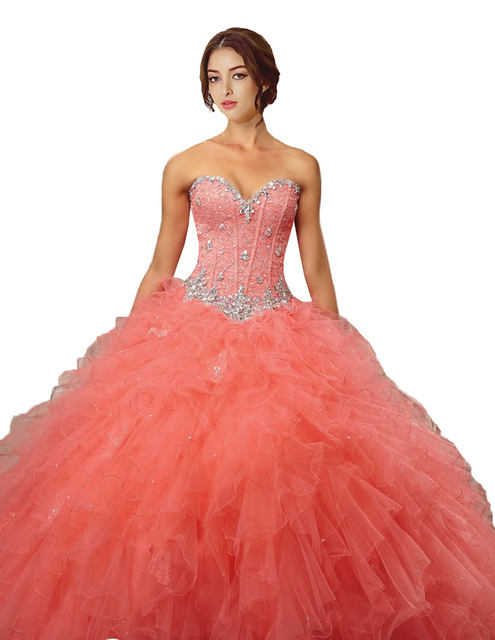 e92fc991ea3 Peach Color Quinceanera Dress Ball Gown Ruffles Organza Crystals Beaded  Lace Up Back Sweet 16 Party