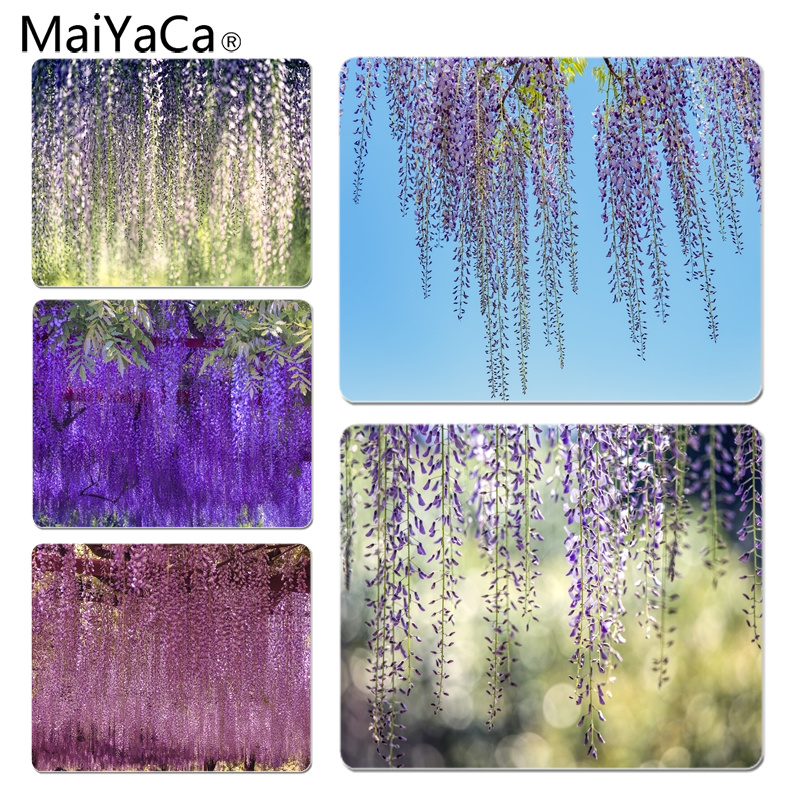 MaiYaCa Wisteria Flowers gamer play mats Mousepad Size for 25X29cm Gaming Mousepads