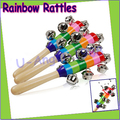 Wholesale 2pcs/lot Baby Rainbow Toy kid Pram Crib Handle Wooden Activity Bell Stick Shaker Rattle Dropshipping