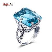 Szjinao Nieuwe Merk Blauw Kristal Samurai Ringen Voor Vrouwen Vintage 925 Sterling Zilveren Schedel Engagement Sieraden