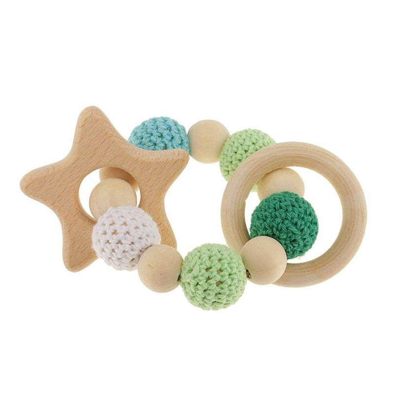 1 Pc Wooden Wooden Teething Rings Cute Toy Rattle Toy Baby Teething Accessories - Multicolored - Star
