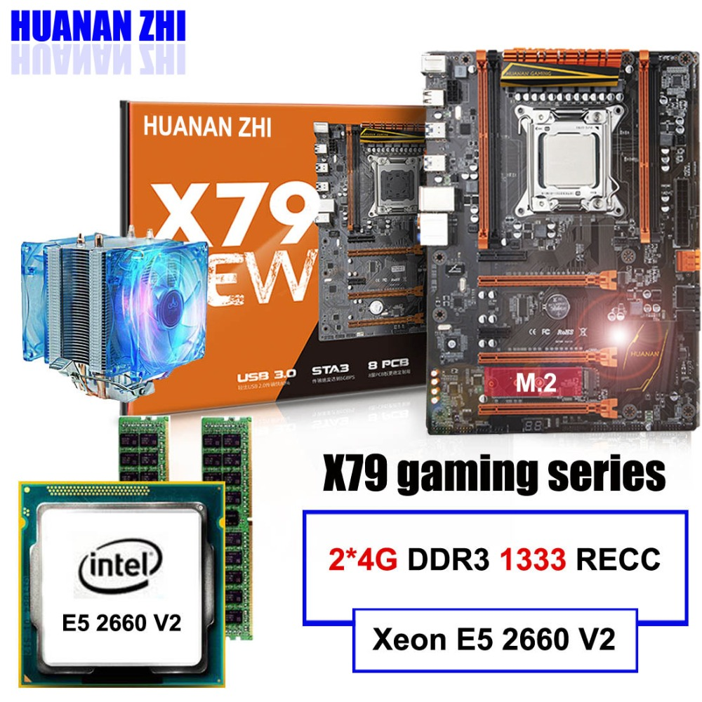 HUANAN ZHI deluxe X79 motherboard CPU RAM cooler set X79 LGA2011 motherboard CPU Xeon E5 2660 V2 RAM 8G(2*4G) DDR3 RECC tested huanan x79 motherboard cpu ram combos with cooler v2 49 x79 lga2011 processor xeon e5 2680 v2 ram 16g 4 4g ddr3 recc all tested
