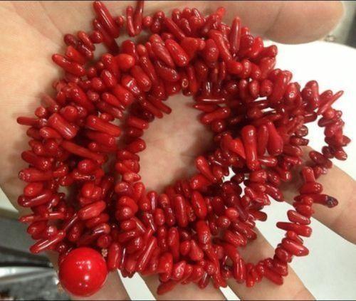 Бесплатный shupping J0035 природный 4x10 мм Красный Отрасль Коралловое Ожерелье 48 дюймов A0510