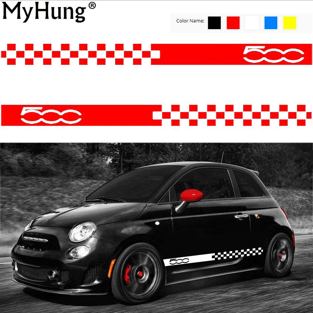 Custom car sticker designer - Car Body Sticker For Cars For Fiat 500 Dynamic Grid Waist Custom Car Stickers And Decals