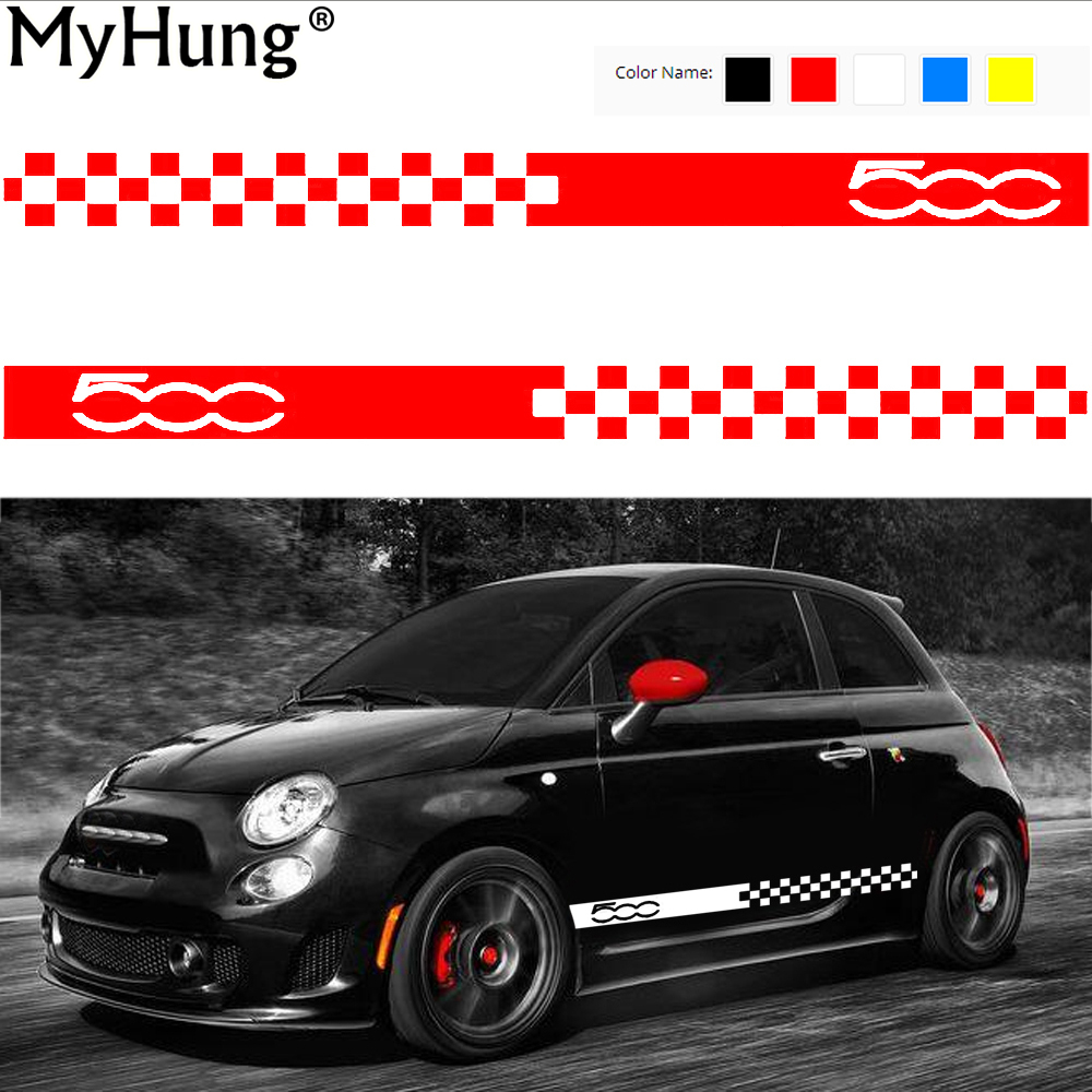 Car Body Sticker For Cars For Fiat 500 Dynamic Grid Waist Custom Car Stickers And Decals Car-Styling Auto Accessories 2pcs