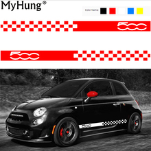 Car Body Sticker For Cars Fiat 500 Dynamic Grid Waist Custom Stickers And Decals Car-Styling Auto Accessories 2pcs