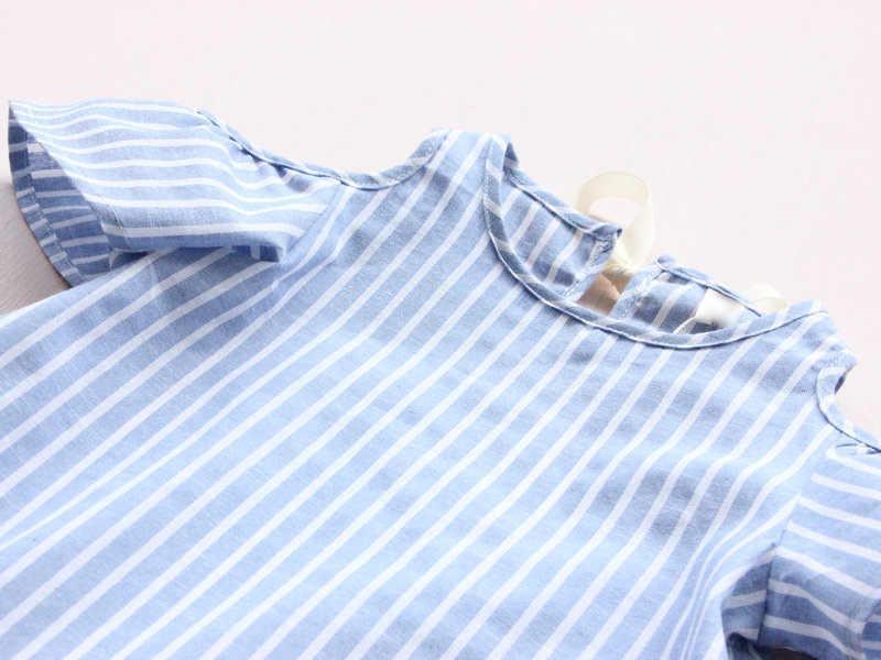 Verão quente da criança crianças bebê meninas roupas azul listrado fora do ombro vestido de festa formal