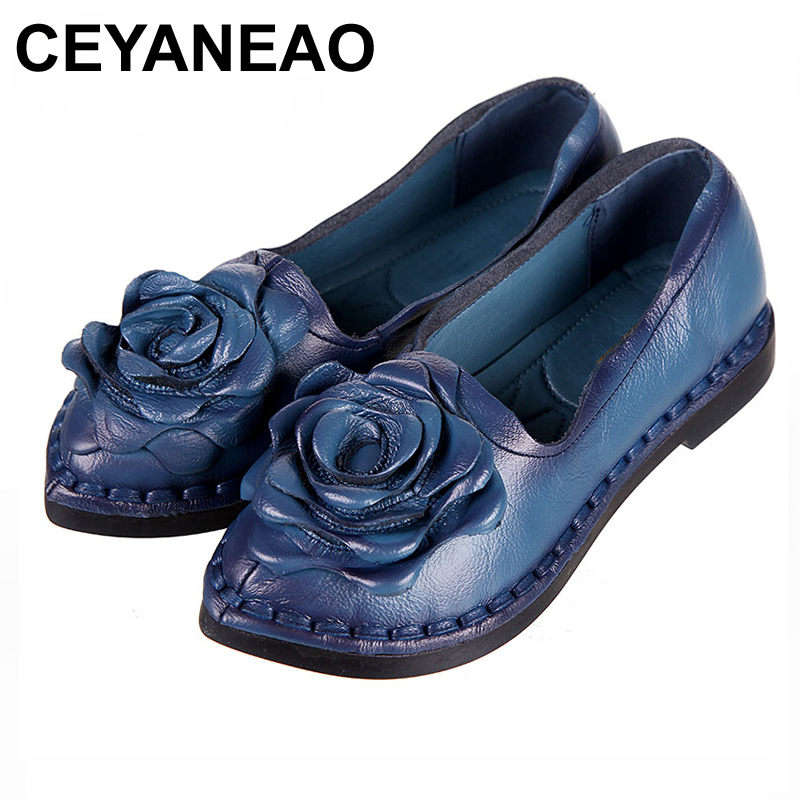 CEYANEAO 2018 Women Handmade Shoes Genuine Leather Soft Safe Flats Autumn Driving Shoes Pointed Toe Women Flats 5 Color
