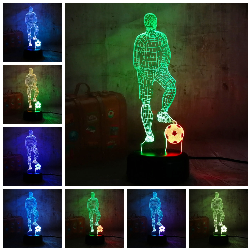 Novelty Sports Style Play Football Soccer 7 Mixed Dual Colors 3D LED Night Lihgt Remote Control Kids Gift Decortion Table LampNovelty Sports Style Play Football Soccer 7 Mixed Dual Colors 3D LED Night Lihgt Remote Control Kids Gift Decortion Table Lamp
