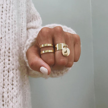 Punk 2 Pcs/set Womens Classic Geometry Disc Geometric Gold Ring Set Bohemian Vintage Personality Jewelry Accessories
