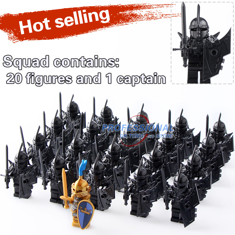 21PCS Medieval Castle Knights The Hobbits The Lord of the Rings Figures with Armor Weapon Building Blocks Bricks Toys Kids Gift hot sale the hobbit lord of the rings mordor orc uruk hai aragorn rohan mirkwood elf building blocks bricks children gift toys