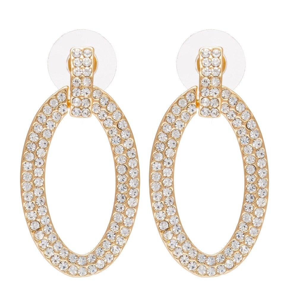 ISHOW cirque crystal earring Gold Color Earrings Rhinestone Delicate Wedding bride Earri ...