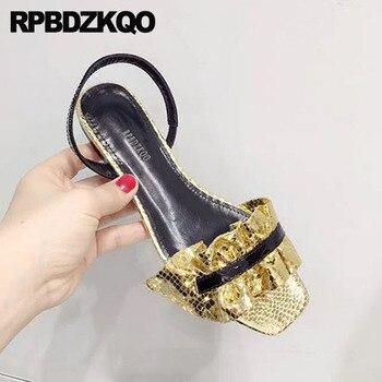 Sandales Plates Dorées   Stiletto Or Bout Ouvert Dames Designer Chaussures Femmes De Luxe 2018 Sandales Pompes Talons Hauts Plat été Mariage Sangle Slingback
