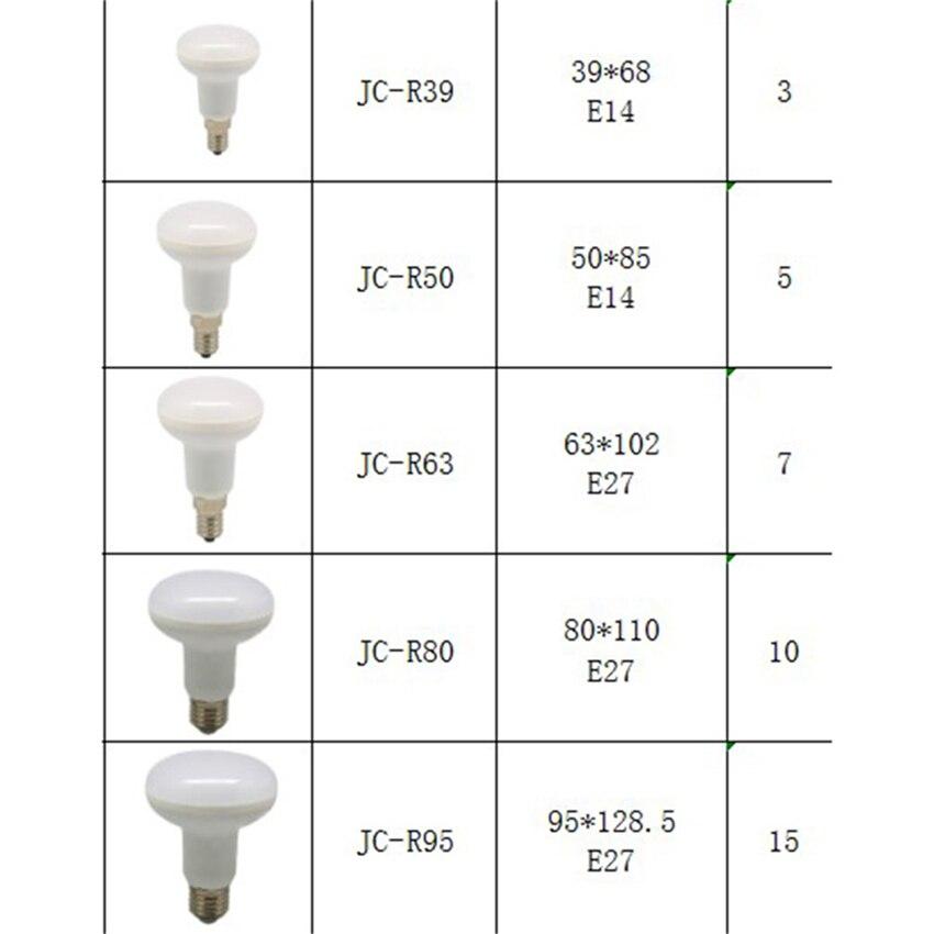 Купить с кэшбэком R39 R50 R63 R80 12LEDs Lamp 3w 5w 9w E14 E27 85-265V Led Bulbs Warm Cold White Spotlight Ball Light Umbrella Bulb For Bedroom
