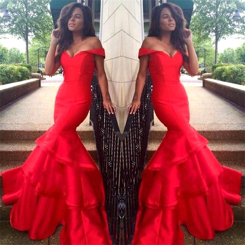 Sexy Off The Shoulder Mermaid Tiered Long Prom Gown Floor Length Evening Dress For Wedding Party Robe De Soiree Custom Made