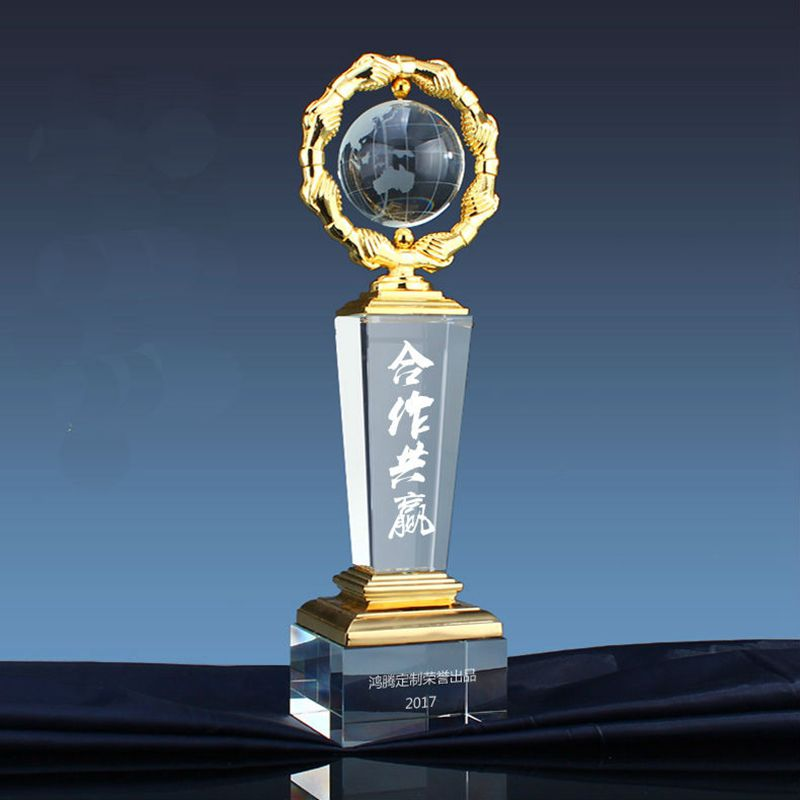 Top Quality!Creative Crystal Glass Trophy High-grade Earth Trophy Free Printing,Free Shipping