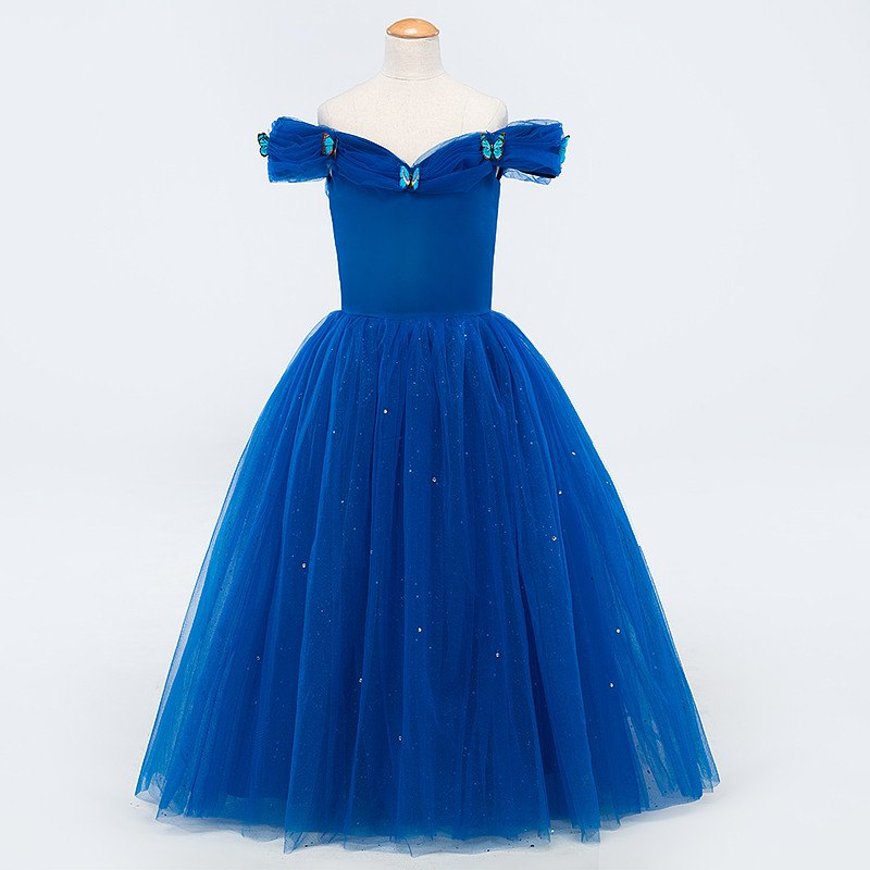 2017 Fashion Blue Cinderella Ball Gowns Graduation Dresses Kids ...