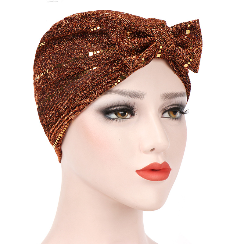 Women Sequined Bow Tie Front Headwear Headwrap African Head wrap Twist Hair Band India Turban Bandana Bandage Hijab Accessories