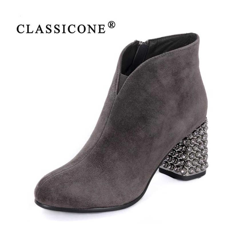 da6a2ed648f6 ... CLASSICONE женская обувь 2018 весна осень новинка ботильоны женские  ботинки женские сапоги черные низкий широкий каблук ...