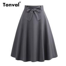 Tonval Grey Casual Elegant Bow Front A Line Skirt Zip Back Belted School Girls Skirts Women Summer Skater Midi Skirt