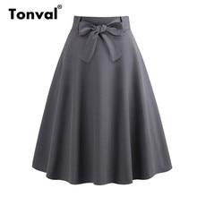 Tonval cinza casual elegante arco frente a linha saia zip voltar com cinto escola meninas saias feminino verão skater midi saia