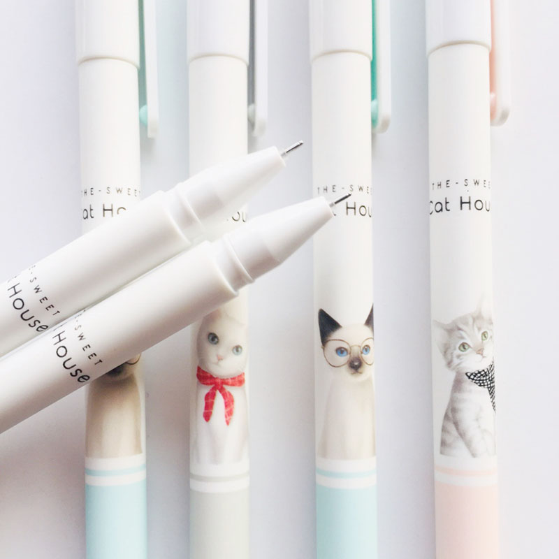 1X Cute Little Cat Kitten Gel Pen Rollerball Pen School Office Supply Student Stationery Black Ink 0.38mm