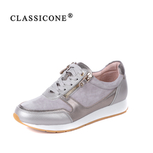 CLASSICONE women shoes spring autumn woman sneakers scoop flats with genuine leather fashion lace-up brand luxury style casual