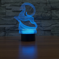 Cute Cartoon Jumping Deer LED Night Light 7 Color USB Cable As Holiday Gift Or Bedroom